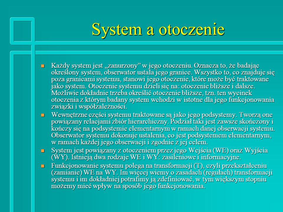 """System a otoczenie n Każdy system jest """"zanurzony w jego otoczeniu."""