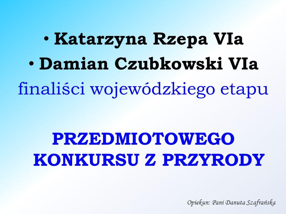 Katarzyna Rzepa VIa Damian Czubkowski VIa finaliści wojewódzkiego etapu PRZEDMIOTOWEGO KONKURSU Z PRZYRODY Opiekun: Pani Danuta Szafrańska