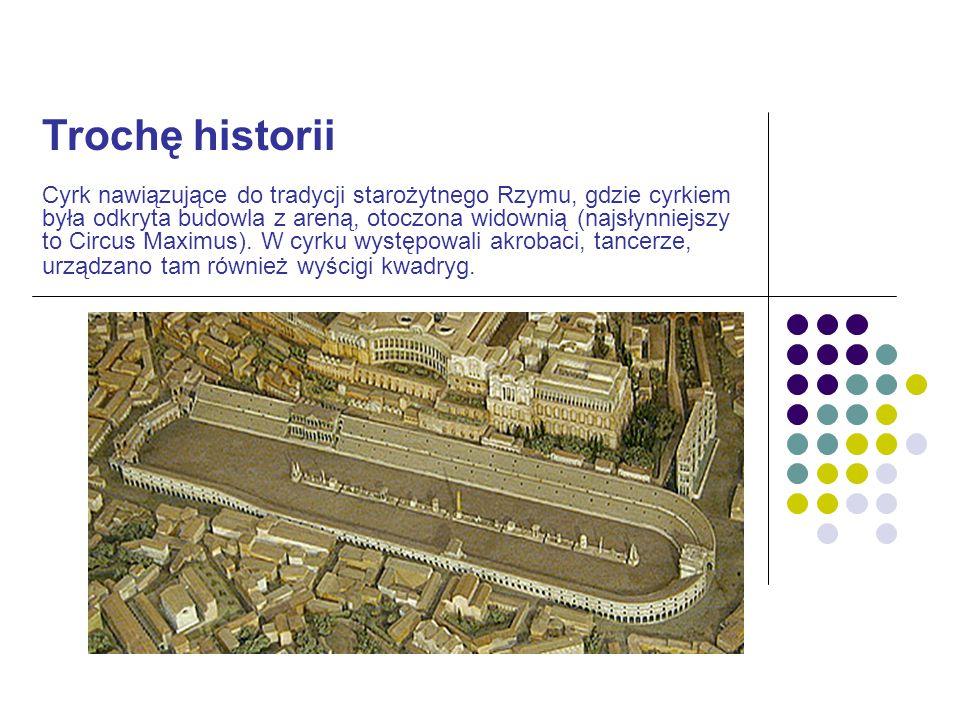 Trochę historii Cyrk nawiązujące do tradycji starożytnego Rzymu, gdzie cyrkiem była odkryta budowla z areną, otoczona widownią (najsłynniejszy to Circ
