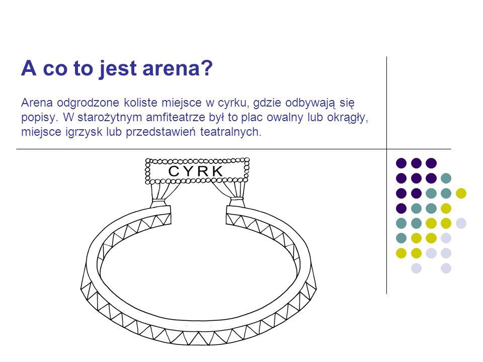 A co to jest arena? Arena odgrodzone koliste miejsce w cyrku, gdzie odbywają się popisy. W starożytnym amfiteatrze był to plac owalny lub okrągły, mie