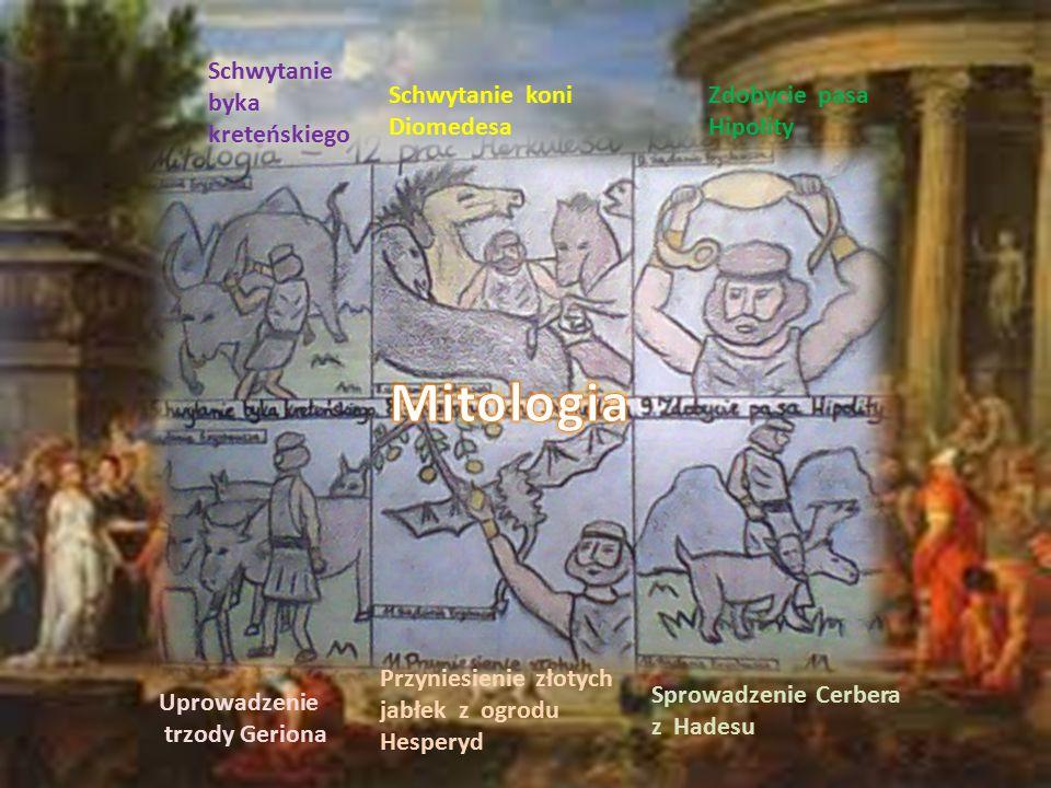Schwytanie byka kreteńskiego Schwytanie koni Diomedesa Zdobycie pasa Hipolity Uprowadzenie trzody Geriona Przyniesienie złotych jabłek z ogrodu Hesper