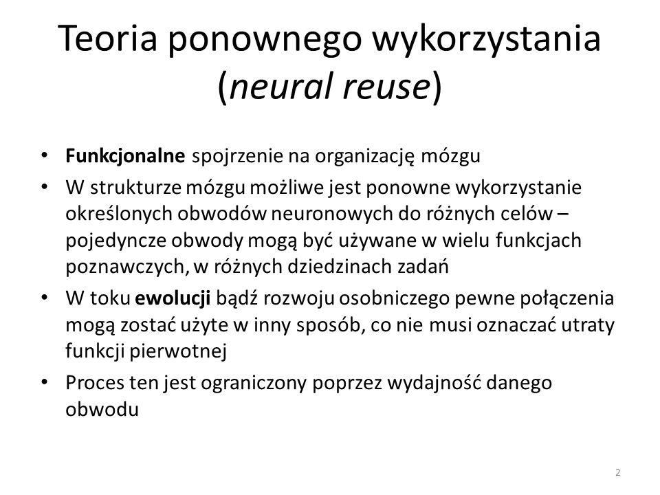 Argumenty za teorią Struktury mózgu nie są ściśle wyspecjalizowane w sztywnie określonych funkcjach Wiele obszarów zaangażowanych jest w różne funkcje, np.: – pole Broca – poza funkcjami językowymi zajmuje się również zadaniami związanymi z działaniem czy wyobraźnią (przygotowywanie ruchu, następstwo działań, rozpoznawanie działań, wyobrażanie ruchu ludzkiego, naśladowanie działań) – obszary związane z widzeniem oraz ruchem aktywują się również w związku z przetwarzaniem językowym – obszar odpowiedzialny za rozpoznawanie twarzy reaguje również na inne bodźce 13