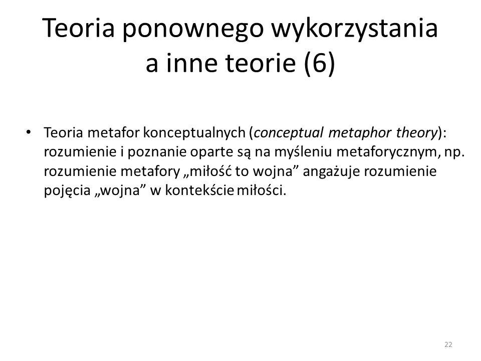 Teoria ponownego wykorzystania a inne teorie (6) Teoria metafor konceptualnych (conceptual metaphor theory): rozumienie i poznanie oparte są na myśleniu metaforycznym, np.