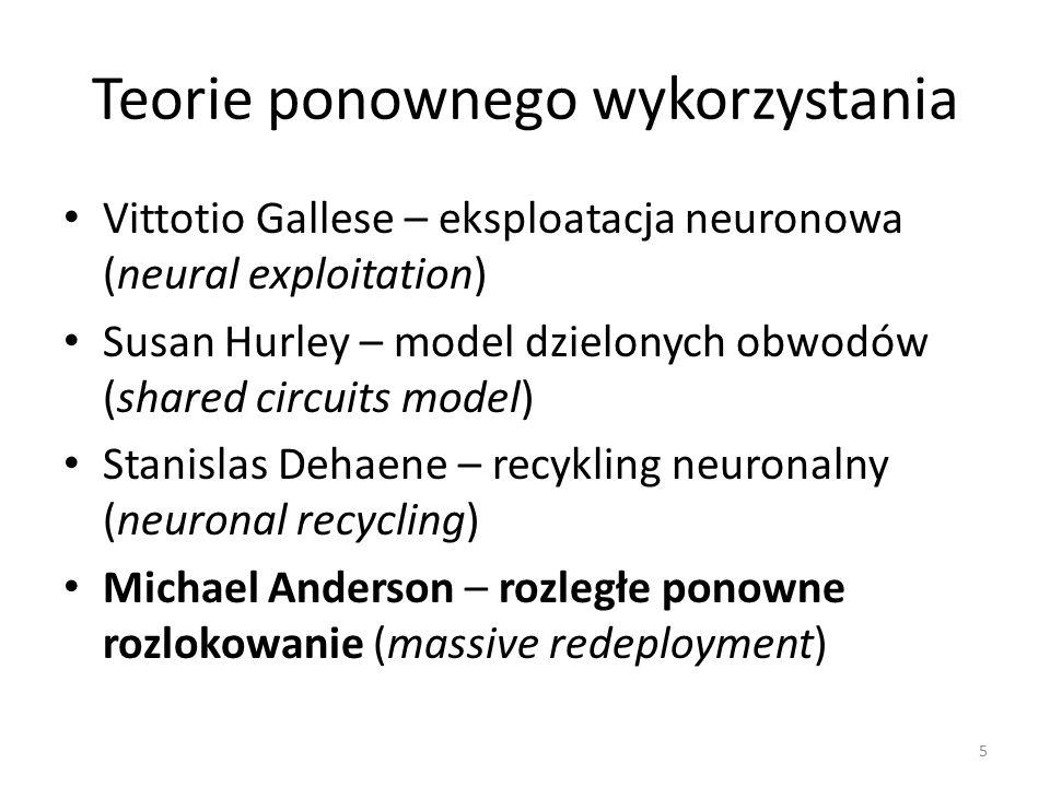 Teorie ponownego wykorzystania Vittotio Gallese – eksploatacja neuronowa (neural exploitation) Susan Hurley – model dzielonych obwodów (shared circuits model) Stanislas Dehaene – recykling neuronalny (neuronal recycling) Michael Anderson – rozległe ponowne rozlokowanie (massive redeployment) 5