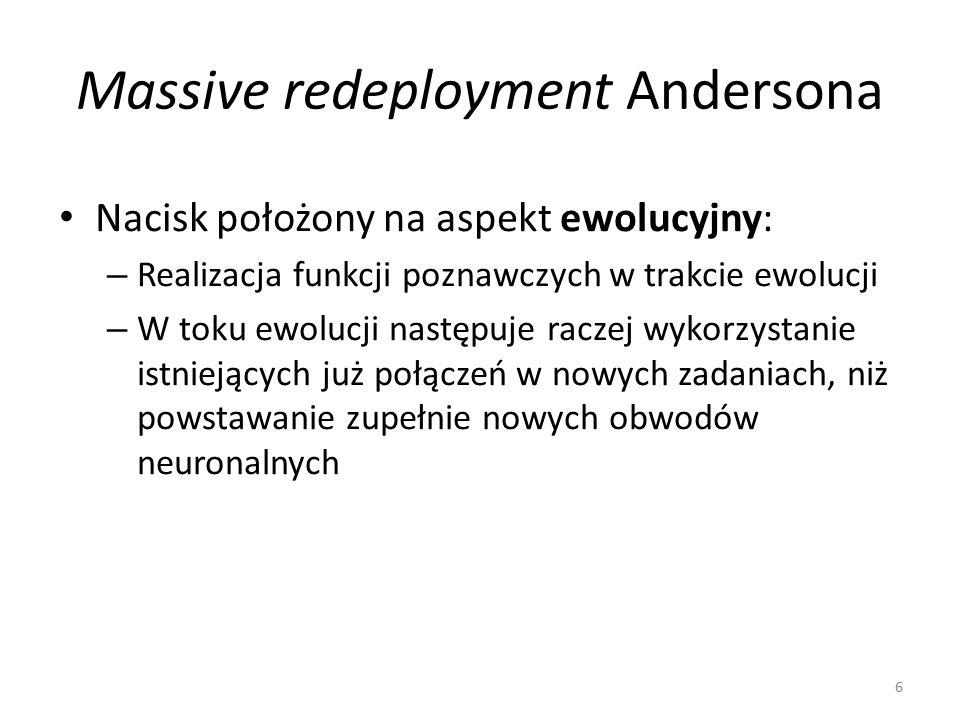 Massive redeployment Andersona – wnioski Konkretne obszary w mózgu powinny więc wykazywać aktywność podczas wykonywania różnych zadań, angażujących odmienne funkcje poznawcze Filogenetycznie starsze obszary, ze względu na to, że były dłużej dostępne dla procesu ponownego wykorzystania, powinny być częściej wykorzystywane przez nowe funkcje Powinien istnieć związek pomiędzy filogenetycznym wiekiem funkcji poznawczej a stopniem rozproszenia jej umiejscowienia w mózgu 7