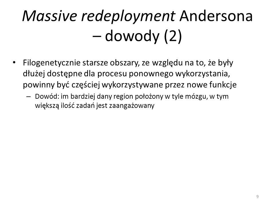 Massive redeployment Andersona – dowody (2) Filogenetycznie starsze obszary, ze względu na to, że były dłużej dostępne dla procesu ponownego wykorzystania, powinny być częściej wykorzystywane przez nowe funkcje – Dowód: im bardziej dany region położony w tyle mózgu, w tym większą ilość zadań jest zaangażowany 9