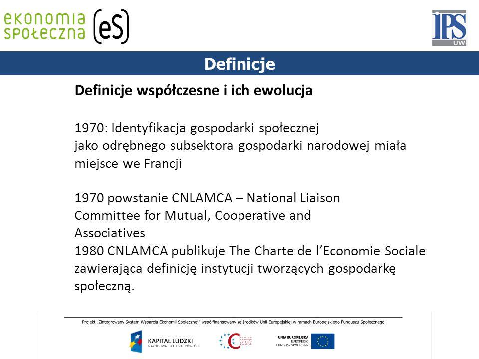 1844 Definicje współczesne i ich ewolucja 1970: Identyfikacja gospodarki społecznej jako odrębnego subsektora gospodarki narodowej miała miejsce we Francji 1970 powstanie CNLAMCA – National Liaison Committee for Mutual, Cooperative and Associatives 1980 CNLAMCA publikuje The Charte de l'Economie Sociale zawierająca definicję instytucji tworzących gospodarkę społeczną.
