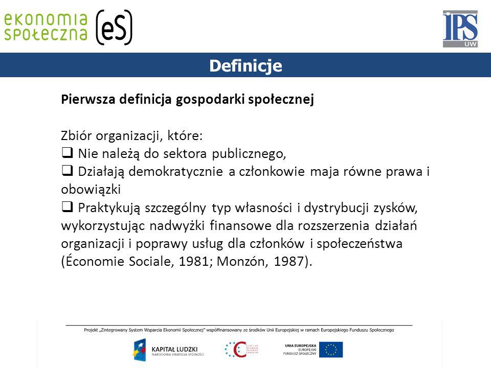 1844 Pierwsza definicja gospodarki społecznej Zbiór organizacji, które:  Nie należą do sektora publicznego,  Działają demokratycznie a członkowie maja równe prawa i obowiązki  Praktykują szczególny typ własności i dystrybucji zysków, wykorzystując nadwyżki finansowe dla rozszerzenia działań organizacji i poprawy usług dla członków i społeczeństwa (Économie Sociale, 1981; Monzón, 1987).
