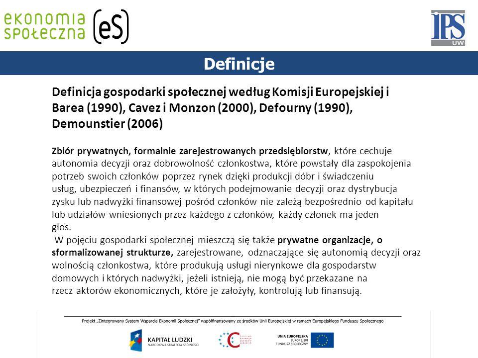 1844 Definicja gospodarki społecznej według Komisji Europejskiej i Barea (1990), Cavez i Monzon (2000), Defourny (1990), Demounstier (2006) Zbiór prywatnych, formalnie zarejestrowanych przedsiębiorstw, które cechuje autonomia decyzji oraz dobrowolność członkostwa, które powstały dla zaspokojenia potrzeb swoich członków poprzez rynek dzięki produkcji dóbr i świadczeniu usług, ubezpieczeń i finansów, w których podejmowanie decyzji oraz dystrybucja zysku lub nadwyżki finansowej pośród członków nie zależą bezpośrednio od kapitału lub udziałów wniesionych przez każdego z członków, każdy członek ma jeden głos.