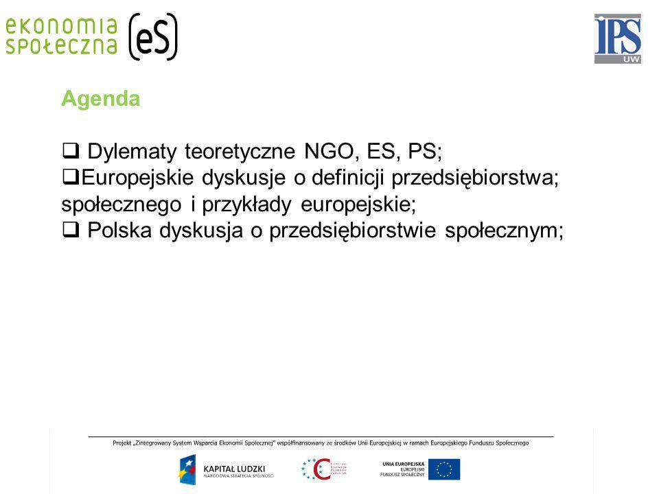 Agenda  Dylematy teoretyczne NGO, ES, PS;  Europejskie dyskusje o definicji przedsiębiorstwa; społecznego i przykłady europejskie;  Polska dyskusja o przedsiębiorstwie społecznym;