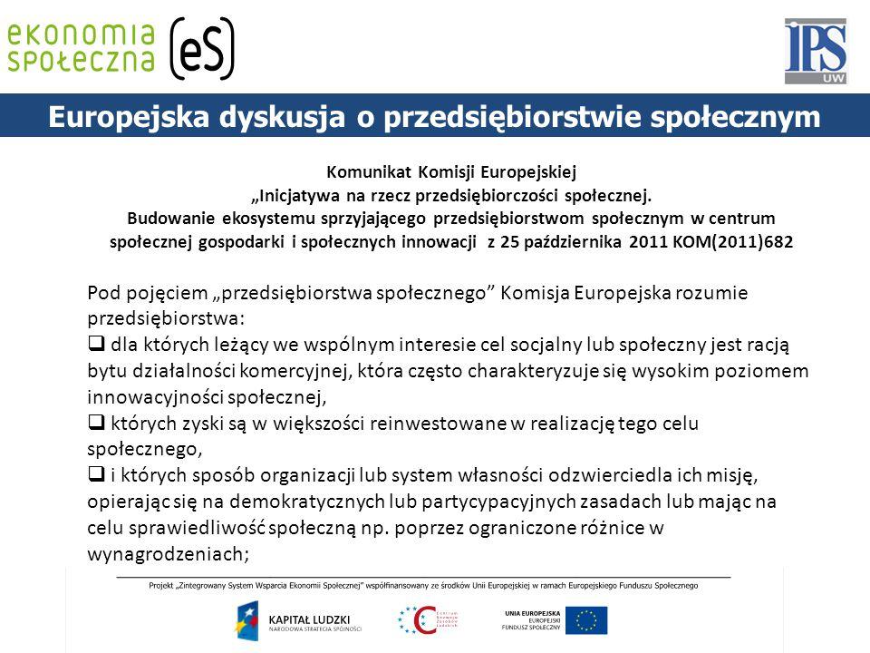 """Europejska dyskusja o przedsiębiorstwie społecznym Komunikat Komisji Europejskiej """"Inicjatywa na rzecz przedsiębiorczości społecznej."""