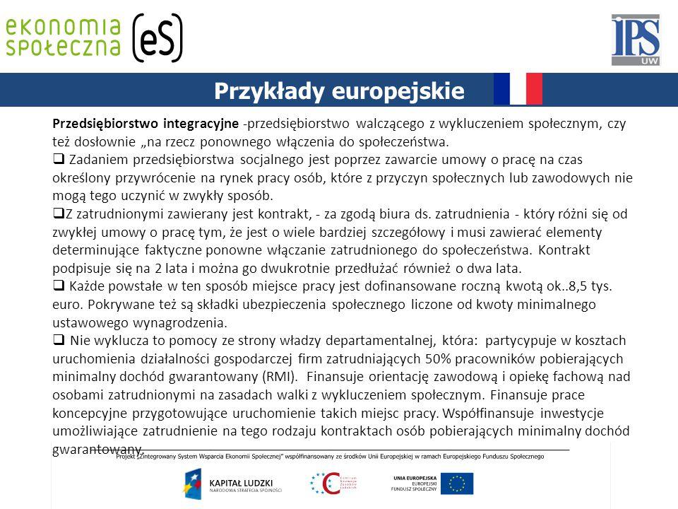"""PODSTAWY PRAWNE Przykłady europejskie Przedsiębiorstwo integracyjne -przedsiębiorstwo walczącego z wykluczeniem społecznym, czy też dosłownie """"na rzecz ponownego włączenia do społeczeństwa."""