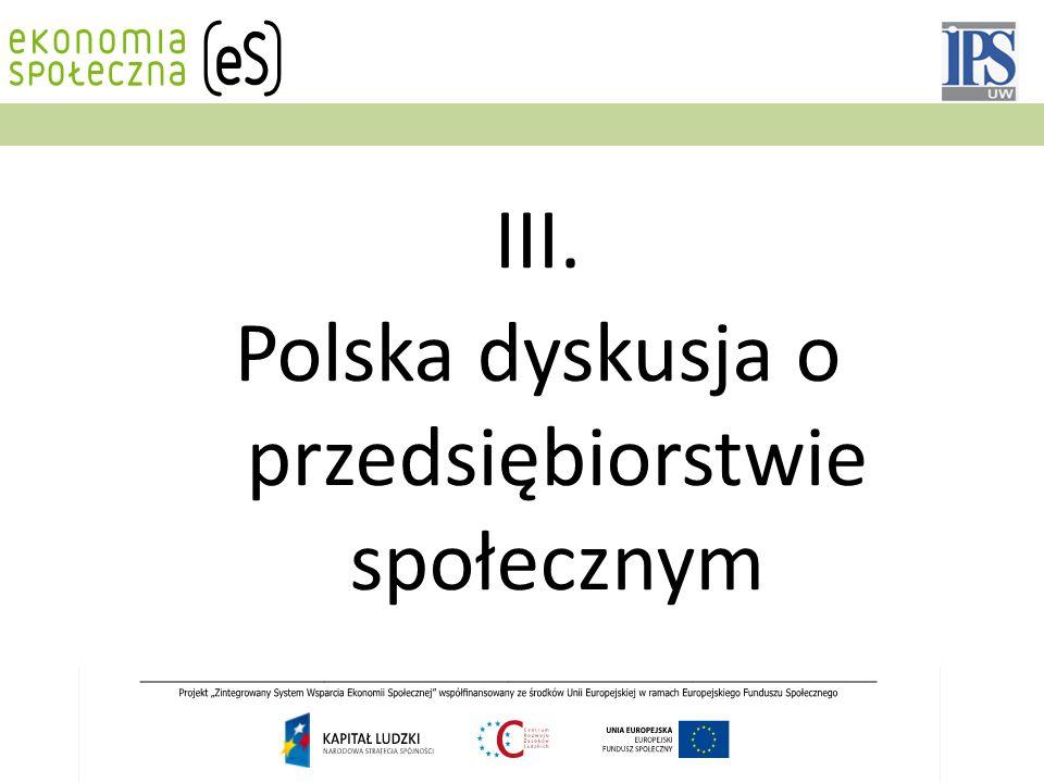 III. Polska dyskusja o przedsiębiorstwie społecznym