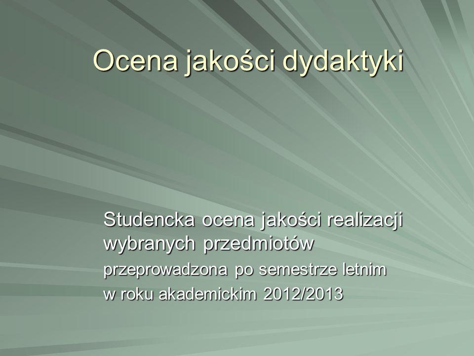 Ocena jakości dydaktyki Studencka ocena jakości realizacji wybranych przedmiotów przeprowadzona po semestrze letnim w roku akademickim 2012/2013