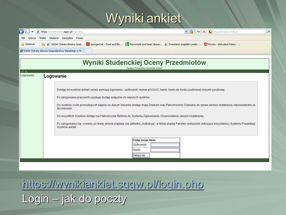 Wyniki ankiet https://wynikiankiet.sggw.pl/login.php Login – jak do poczty