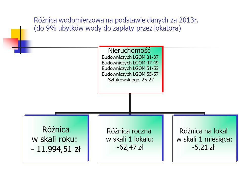 Różnica wodomierzowa na podstawie danych za 2013r.