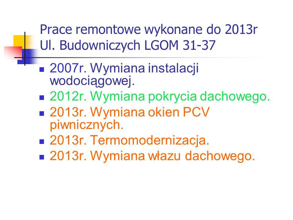 Prace remontowe wykonane do 2013r Ul. Budowniczych LGOM 31-37 2007r.