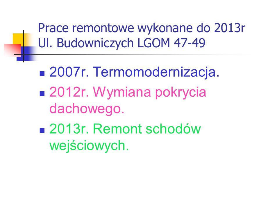Prace remontowe wykonane do 2013r Ul. Budowniczych LGOM 47-49 2007r.