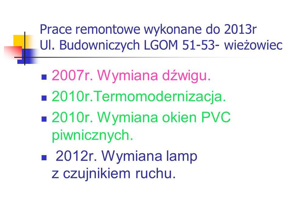 Prace remontowe wykonane do 2013r Ul. Budowniczych LGOM 51-53- wieżowiec 2007r.