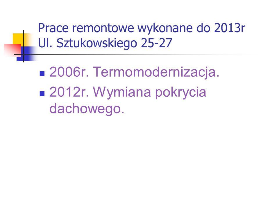 Prace remontowe wykonane do 2013r Ul. Sztukowskiego 25-27 2006r.