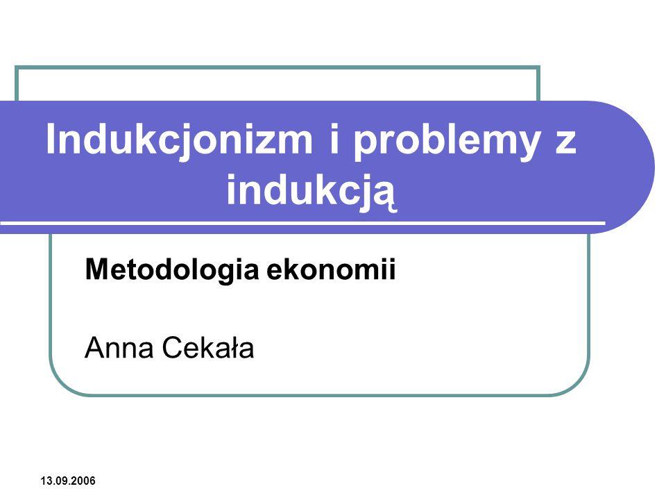 13.09.2006 Indukcjonizm i problemy z indukcją Metodologia ekonomii Anna Cekała