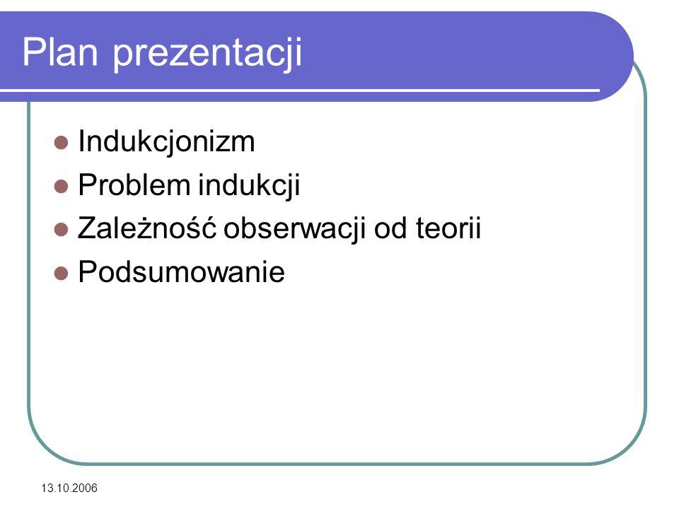13.10.2006 Plan prezentacji Indukcjonizm Problem indukcji Zależność obserwacji od teorii Podsumowanie