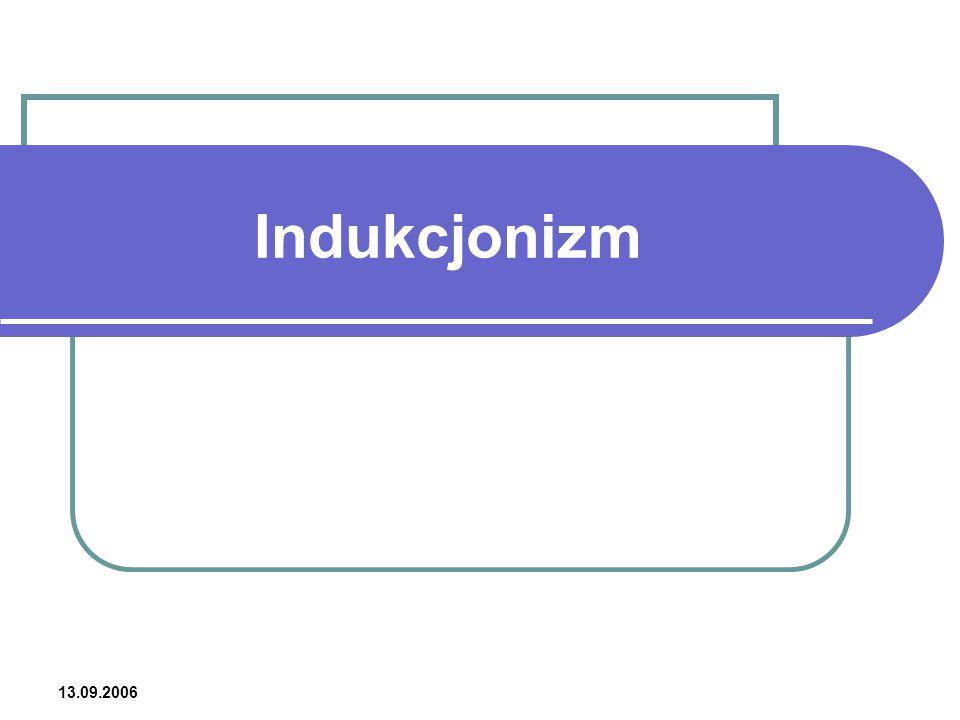 13.10.2006 Indukcjonizm – definicja Indukcjonizm prąd myślowy podkreślający znaczenie indukcji logicznej, czyli wywodzenia ogólnych praw natury z jednostkowych spostrzeżeń, obserwacji i eksperymentów.