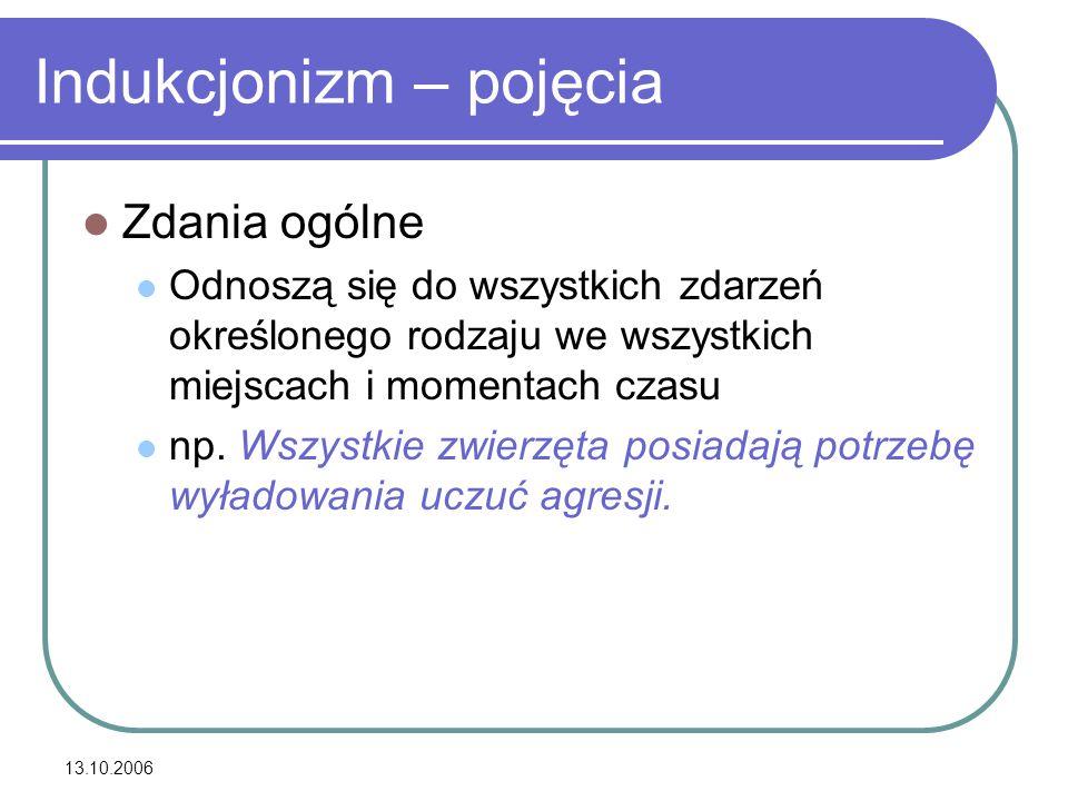 13.10.2006 Indukcja Jak na podstawie zdań szczegółowych formułować ogólne teorie.