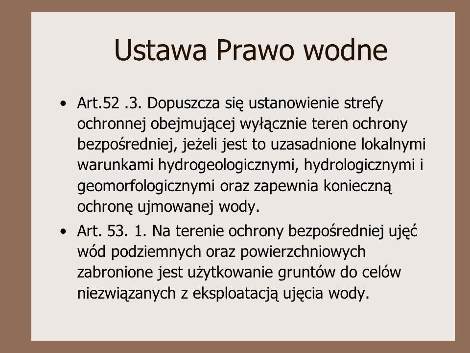 Ustawa Prawo wodne Art.52.3. Dopuszcza się ustanowienie strefy ochronnej obejmującej wyłącznie teren ochrony bezpośredniej, jeżeli jest to uzasadnione