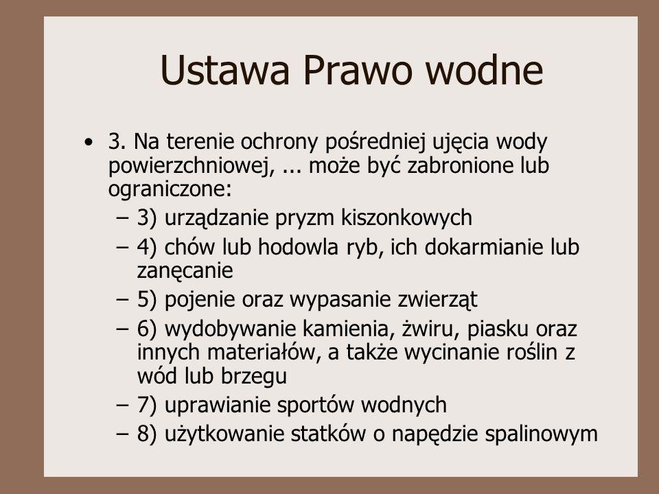 Ustawa Prawo wodne 3.Na terenie ochrony pośredniej ujęcia wody powierzchniowej,...