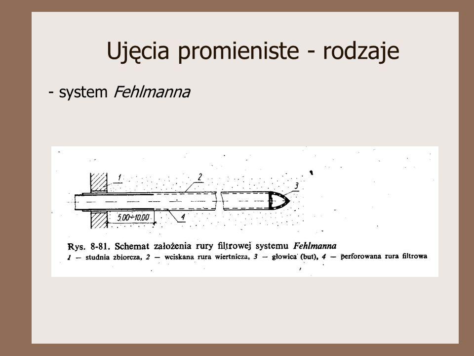 Ujęcia promieniste - rodzaje - system Fehlmanna