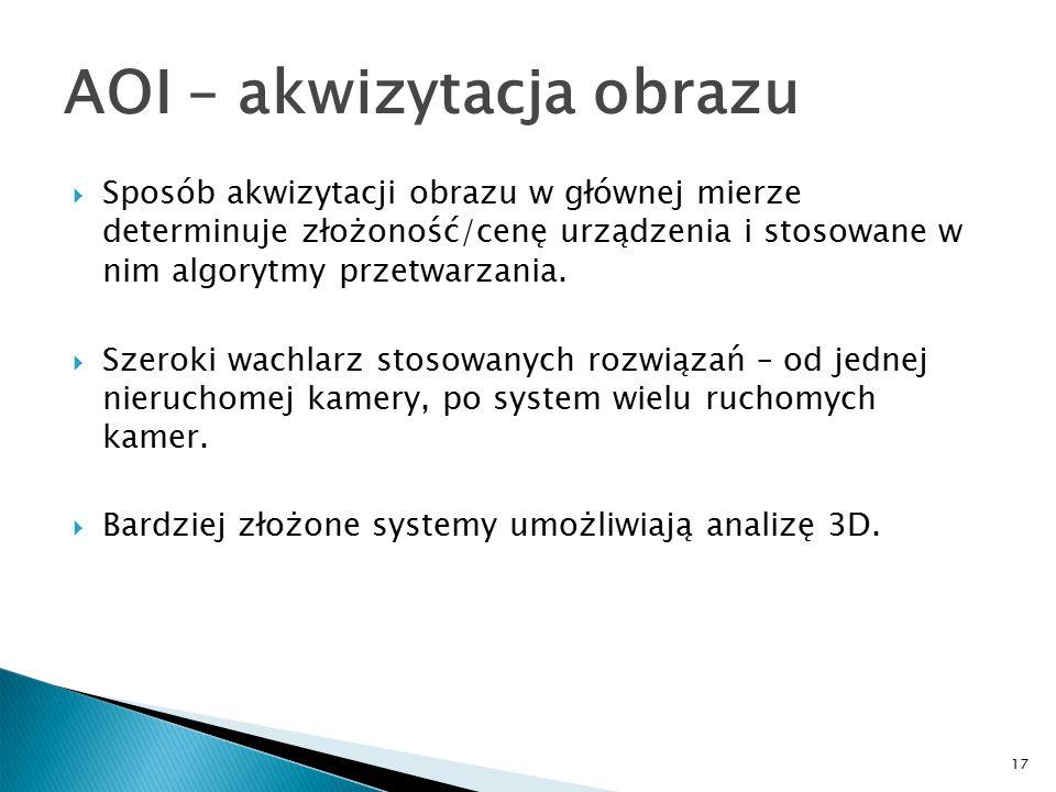 17 AOI – akwizytacja obrazu  Sposób akwizytacji obrazu w głównej mierze determinuje złożoność/cenę urządzenia i stosowane w nim algorytmy przetwarzania.