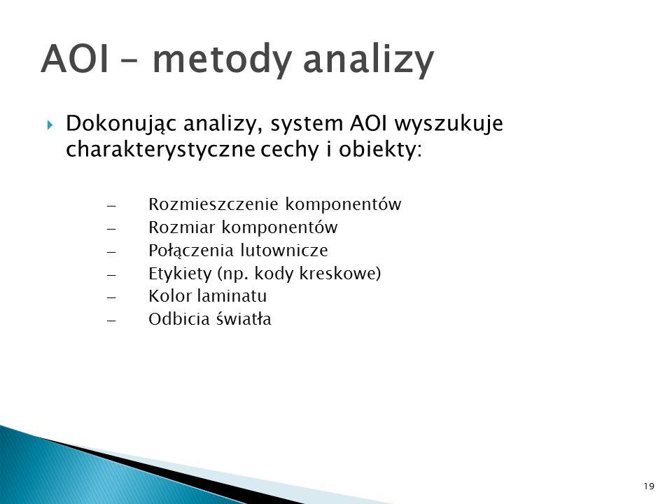 19 AOI – metody analizy  Dokonując analizy, system AOI wyszukuje charakterystyczne cechy i obiekty: – Rozmieszczenie komponentów – Rozmiar komponentów – Połączenia lutownicze – Etykiety (np.