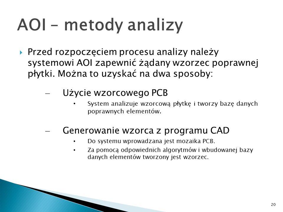 20 AOI – metody analizy  Przed rozpoczęciem procesu analizy należy systemowi AOI zapewnić żądany wzorzec poprawnej płytki.