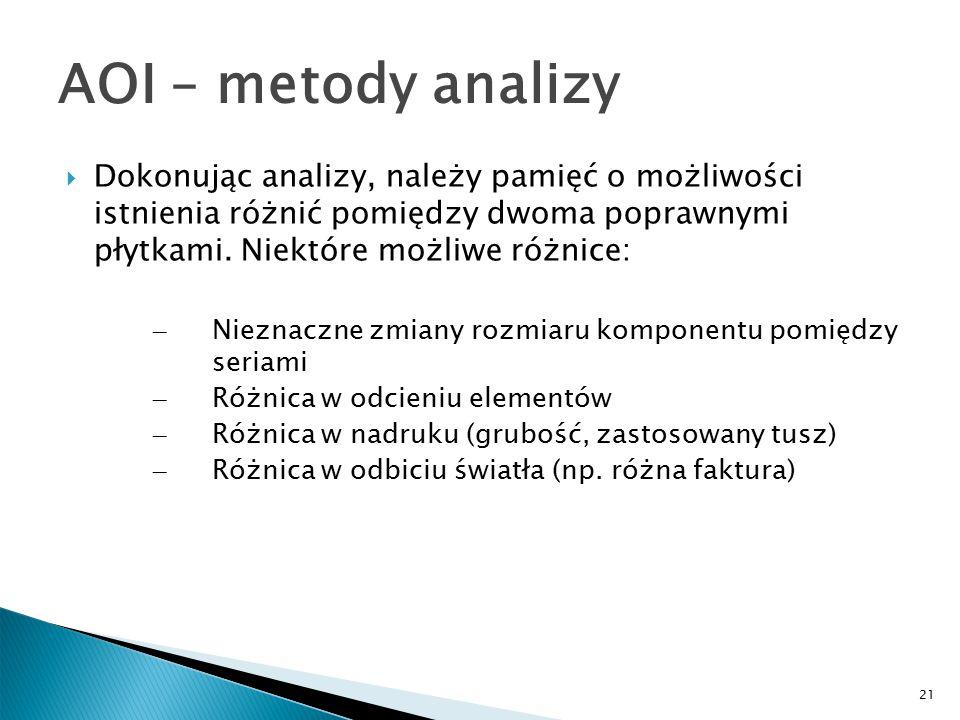 21 AOI – metody analizy  Dokonując analizy, należy pamięć o możliwości istnienia różnić pomiędzy dwoma poprawnymi płytkami.