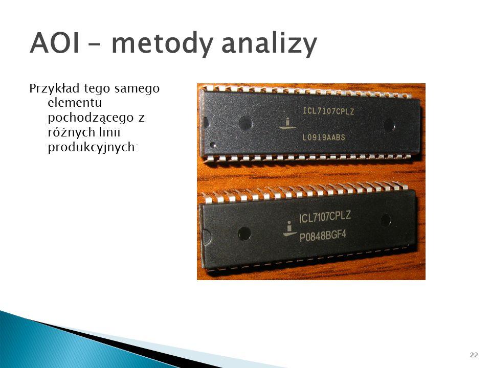 22 AOI – metody analizy Przykład tego samego elementu pochodzącego z różnych linii produkcyjnych: