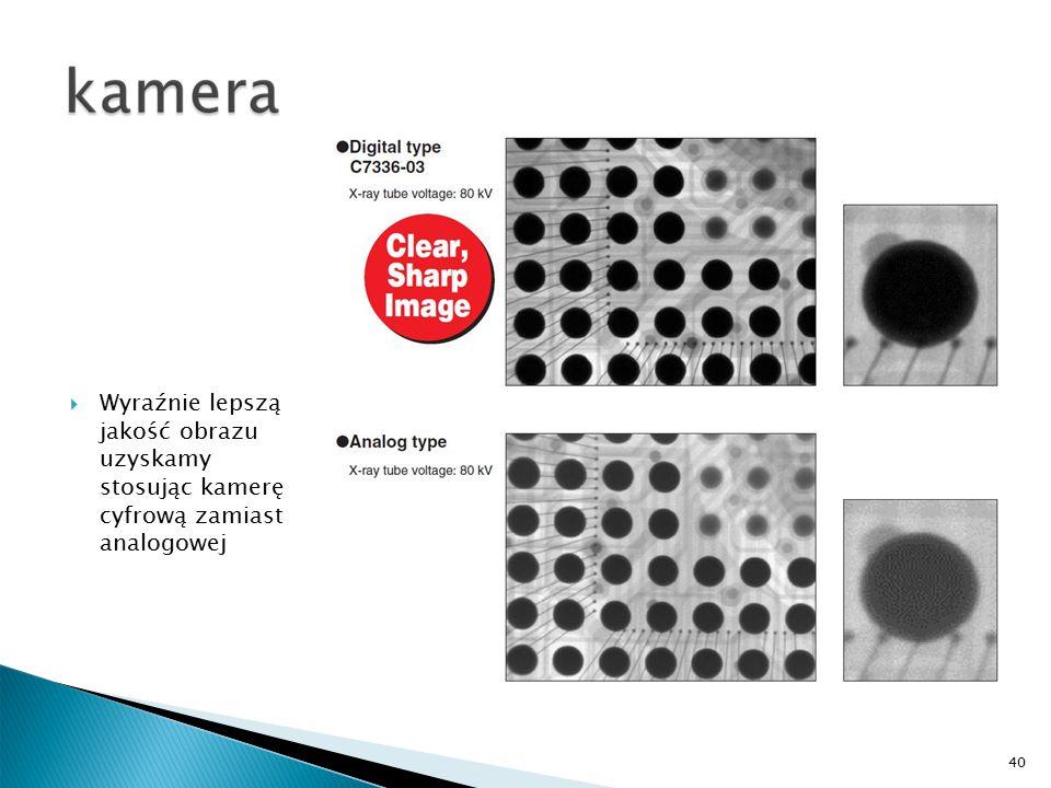 40  Wyraźnie lepszą jakość obrazu uzyskamy stosując kamerę cyfrową zamiast analogowej