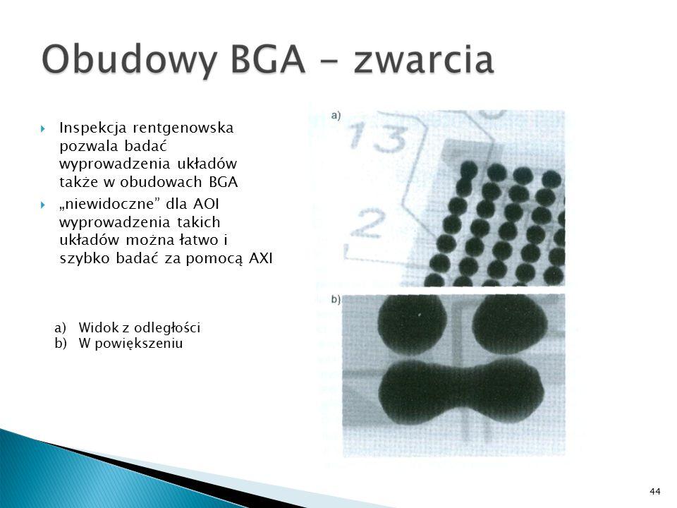 """44 a)Widok z odległości b)W powiększeniu  Inspekcja rentgenowska pozwala badać wyprowadzenia układów także w obudowach BGA  """"niewidoczne dla AOI wyprowadzenia takich układów można łatwo i szybko badać za pomocą AXI"""
