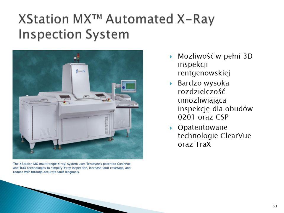 53  Możliwość w pełni 3D inspekcji rentgenowskiej  Bardzo wysoka rozdzielczość umożliwiająca inspekcję dla obudów 0201 oraz CSP  Opatentowane technologie ClearVue oraz TraX