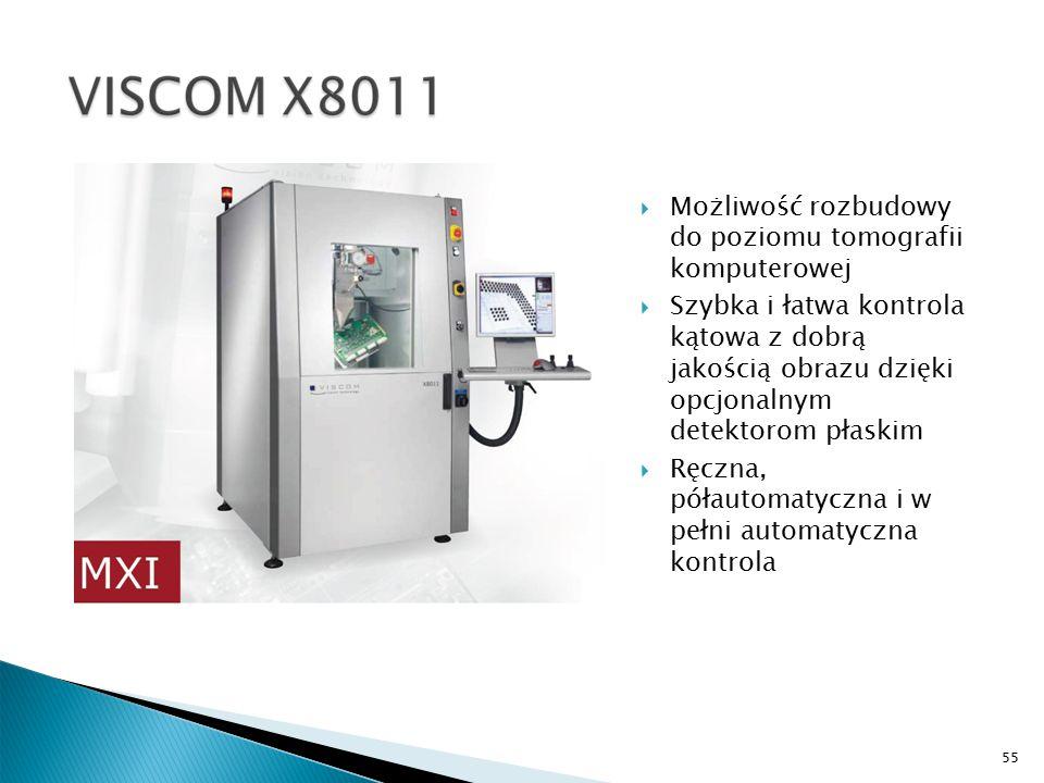 55  Możliwość rozbudowy do poziomu tomografii komputerowej  Szybka i łatwa kontrola kątowa z dobrą jakością obrazu dzięki opcjonalnym detektorom płaskim  Ręczna, półautomatyczna i w pełni automatyczna kontrola