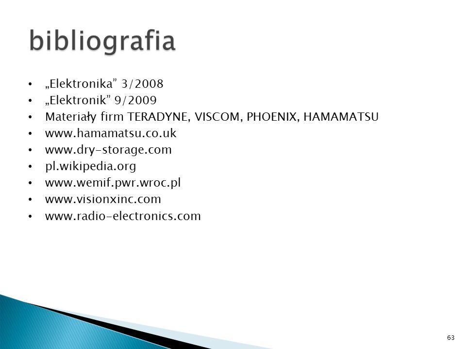 """63 """"Elektronika 3/2008 """"Elektronik 9/2009 Materiały firm TERADYNE, VISCOM, PHOENIX, HAMAMATSU www.hamamatsu.co.uk www.dry-storage.com pl.wikipedia.org www.wemif.pwr.wroc.pl www.visionxinc.com www.radio-electronics.com"""