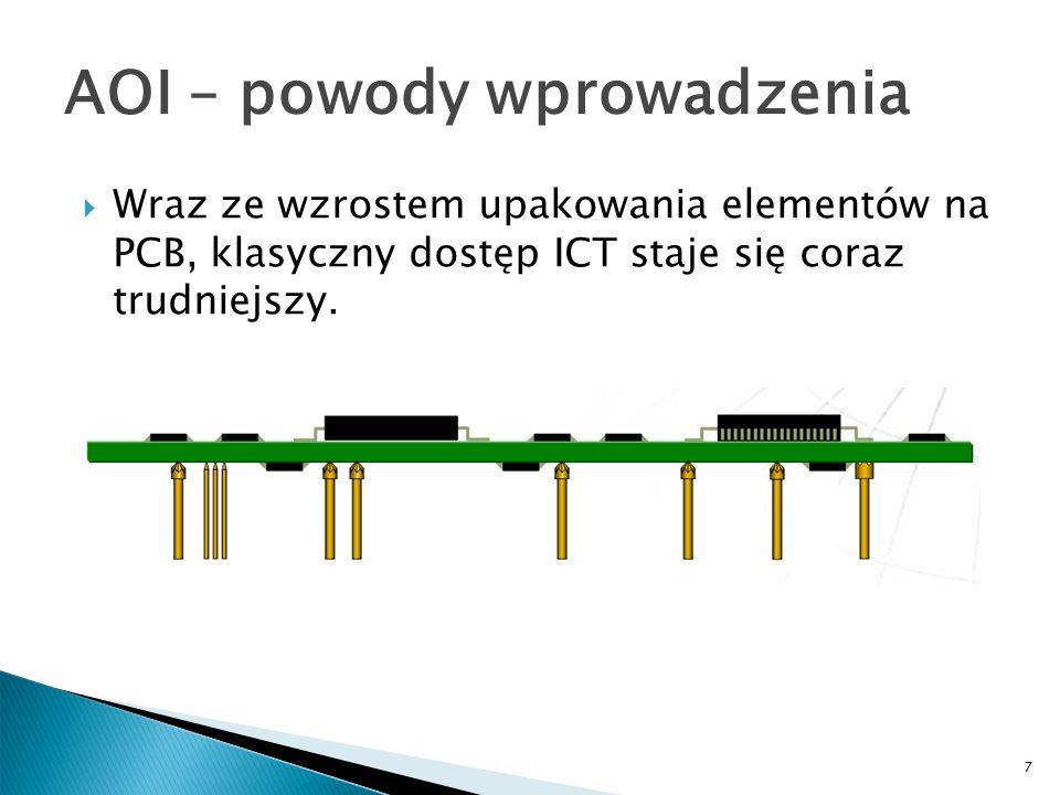7 AOI – powody wprowadzenia  Wraz ze wzrostem upakowania elementów na PCB, klasyczny dostęp ICT staje się coraz trudniejszy.