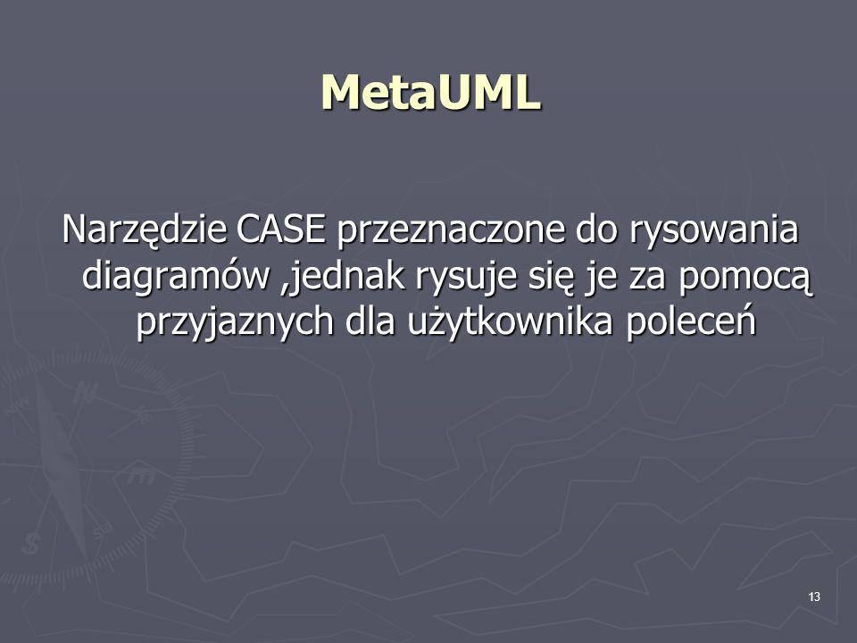 13 MetaUML Narzędzie CASE przeznaczone do rysowania diagramów,jednak rysuje się je za pomocą przyjaznych dla użytkownika poleceń