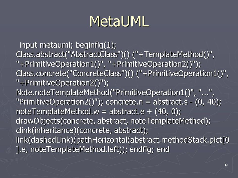 14 MetaUML input metauml; beginfig(1); Class.abstract(