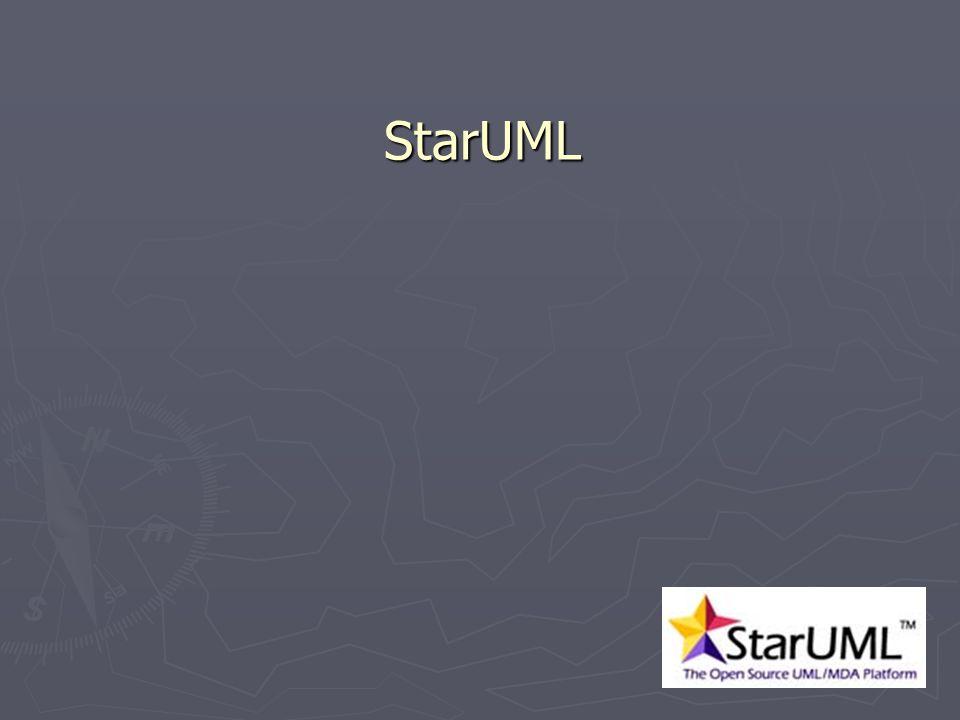 21 StarUML StarUML StarUML to projekt OpenSource którego celem jest stworzenie szybkiego, elastycznego, funkcjonalnego i roszrzerzalnego środowiska modelowania UML (Unified Modeling Language) pod platformę Windows, które mogłoby być konkurencją dla komercyjnych rozwiązań z tej dziedziny.