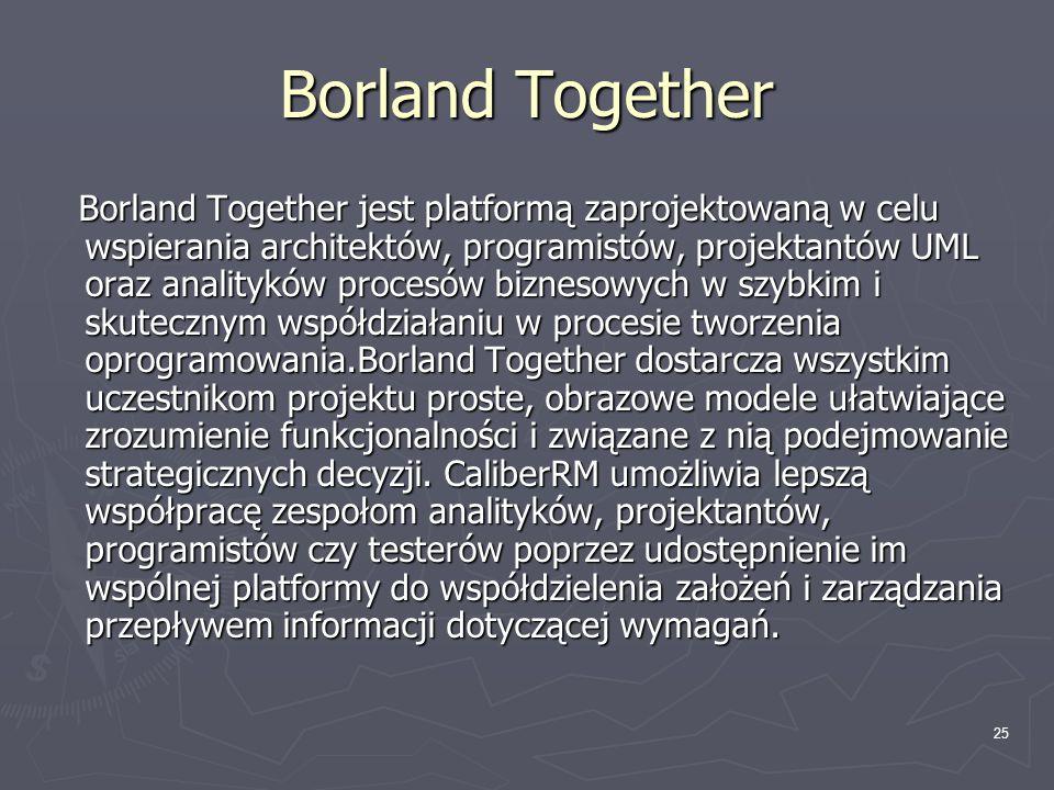 26 Borland Together ► Tworzenie modeli UML 2 i BPMN™ umożliwiające generowanie i importowanie języka opisu procesów biznesowych ► Zwiększenie wydajności i jakości dzięki automatycznej weryfikacji poprawności przy użyciu audytów i metryk na poziomie zarówno modelu jak i kodu ► Usprawniona komunikacja z pełnym wsparciem w postaci gotowych do użycia lub modyfikacji szablonów dokumentów, które mogą zawierać dane ze wszystkich typów modeli i wymagań