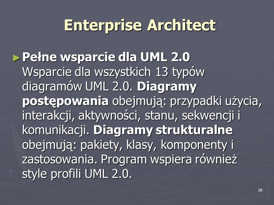 29 Enterprise Architect ► Pełne wsparcie dla UML 2.0 Wsparcie dla wszystkich 13 typów diagramów UML 2.0. Diagramy postępowania obejmują: przypadki uży