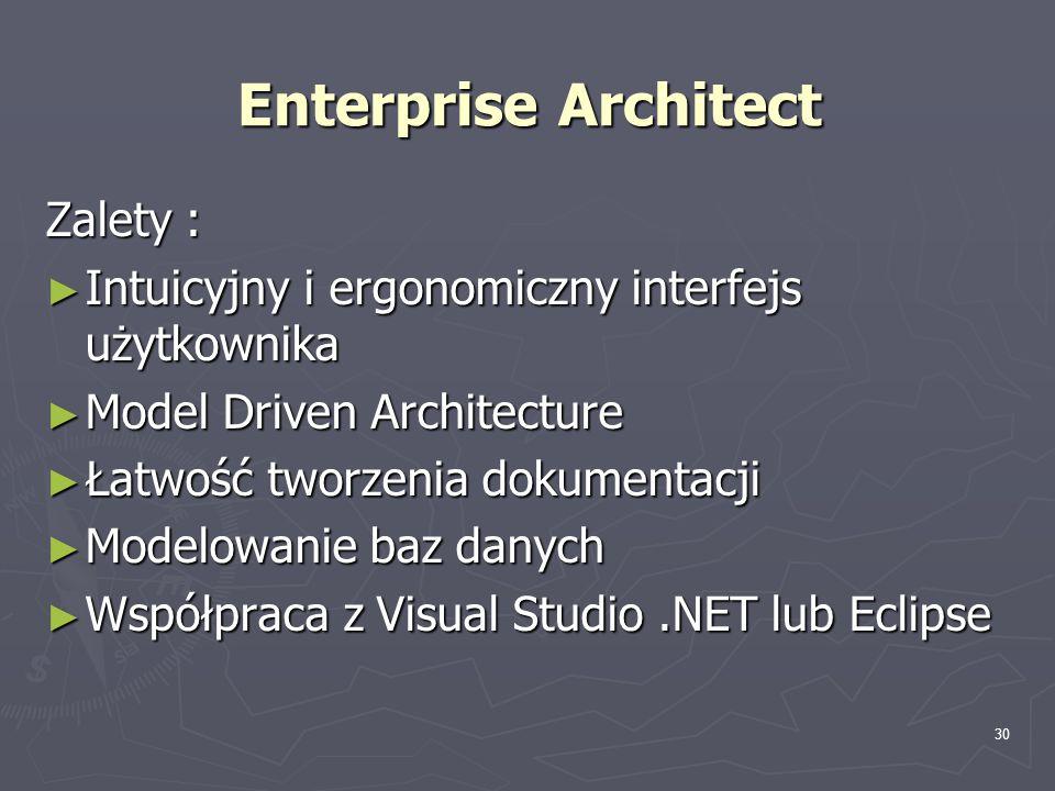 30 Enterprise Architect Zalety : ► Intuicyjny i ergonomiczny interfejs użytkownika ► Model Driven Architecture ► Łatwość tworzenia dokumentacji ► Mode