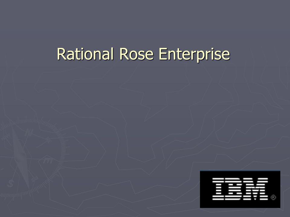 32 Rational Rose Enterprise Rational Rose Enterprise to optymalne środowisko modelowania oferujące funkcje generowania kodu w językach Ada, ANSI C++, C++, CORBA, Java/J2EE, Visual C++ i Visual Basic.