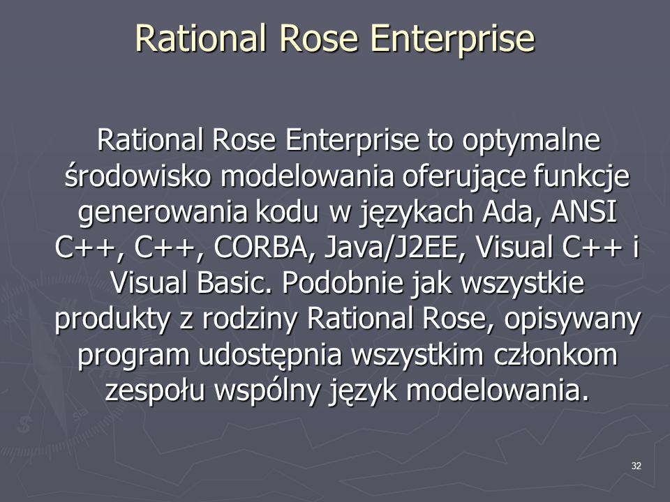 33 Rational Rose Enterprise ► niezależne sterowanie komponentami modelu ► obsługa programowania i/lub odtwarzania kodu źródłowego obejmująca niektóre z najczęściej stosowanych konstrukcji języka Java 1.5 ► generowanie kodu w językach Ada, ANSI C++, C++, CORBA, Java i Visual Basic ► obsługa technologii Enterprise Java Beans 2.0 ► funkcje analizy jakości kodu